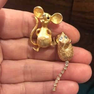 Rats!! Pair of cute little mice signed pins